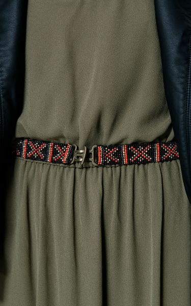 Zara Long Dress With Beaded Belt In Khaki Lyst