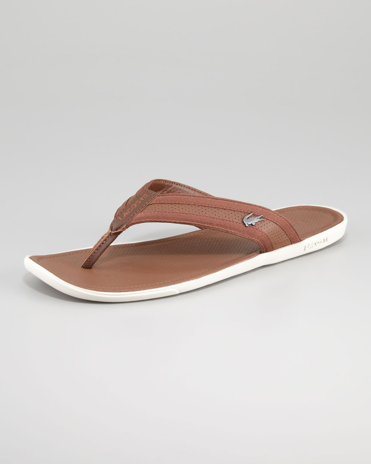 87a695c46 Lacoste Carros Leather Thong Sandal in Beige for Men (tan)