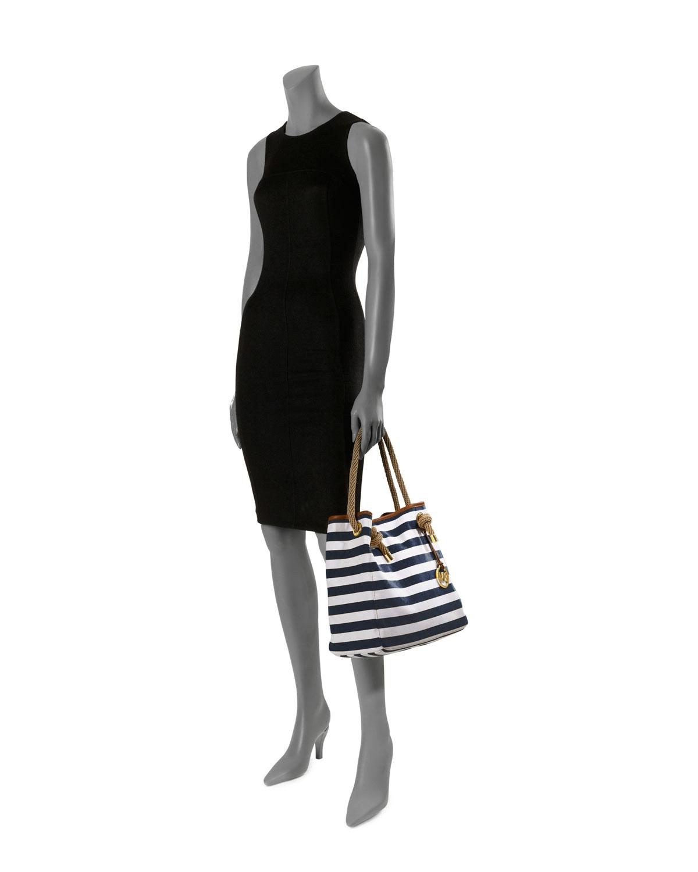 buy michael kors marina tote navy stripe fabric 534c2 ba4c8 0db1148cf9230
