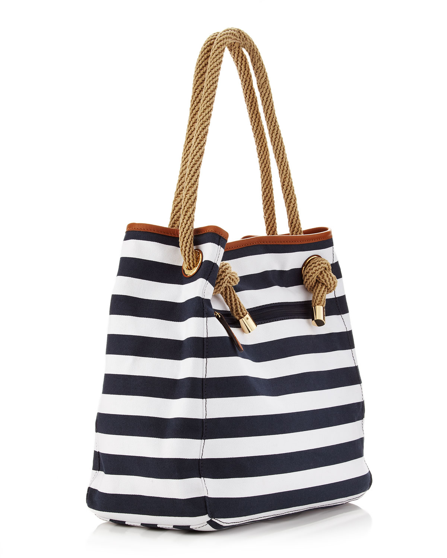 f0471462456f Michael Kors Marina Large Canvas Grab Bag in White - Lyst