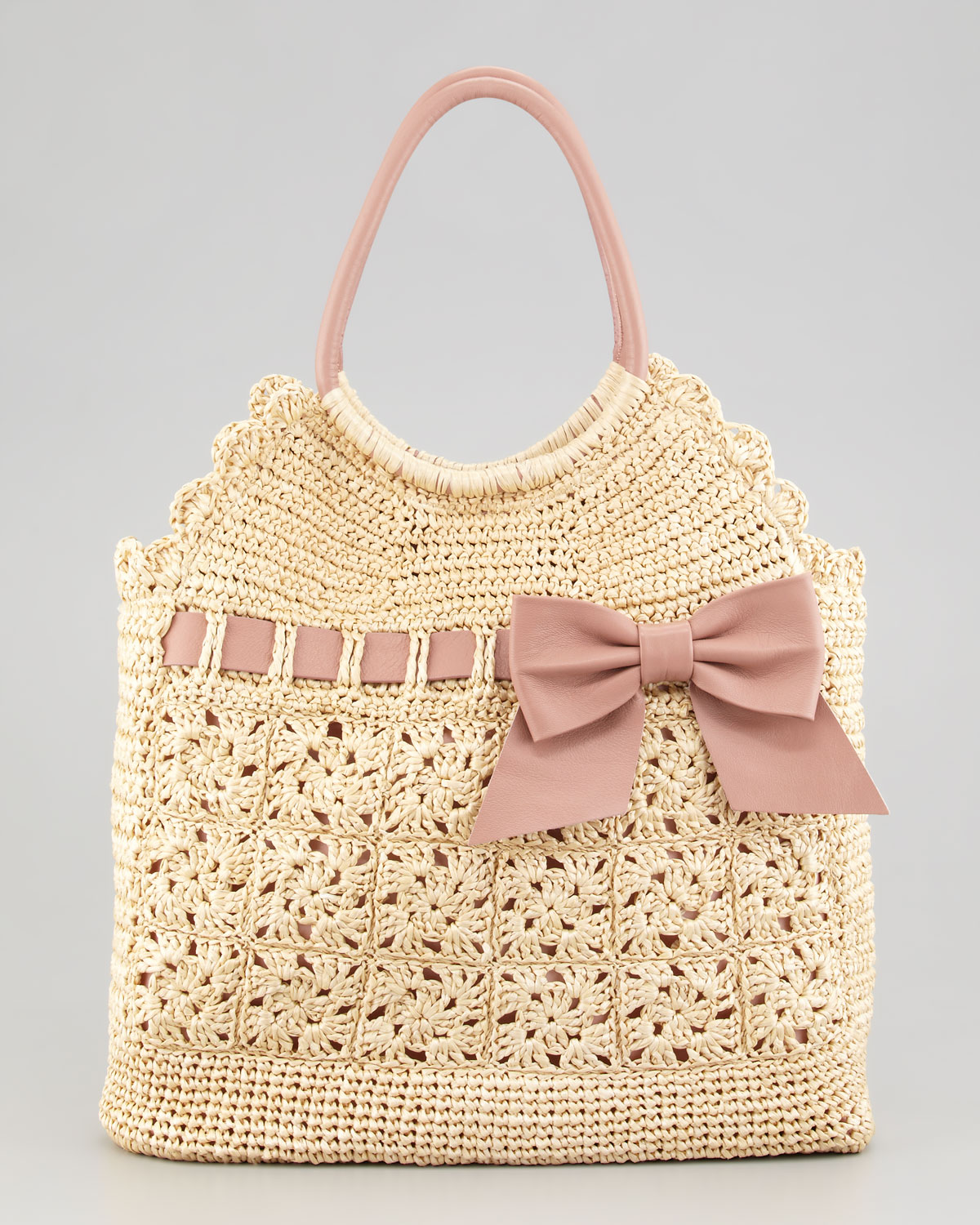 Crochet Purses And Bags : Red valentino Leather and Crochet Raffia Tote Bag in Natural Lyst