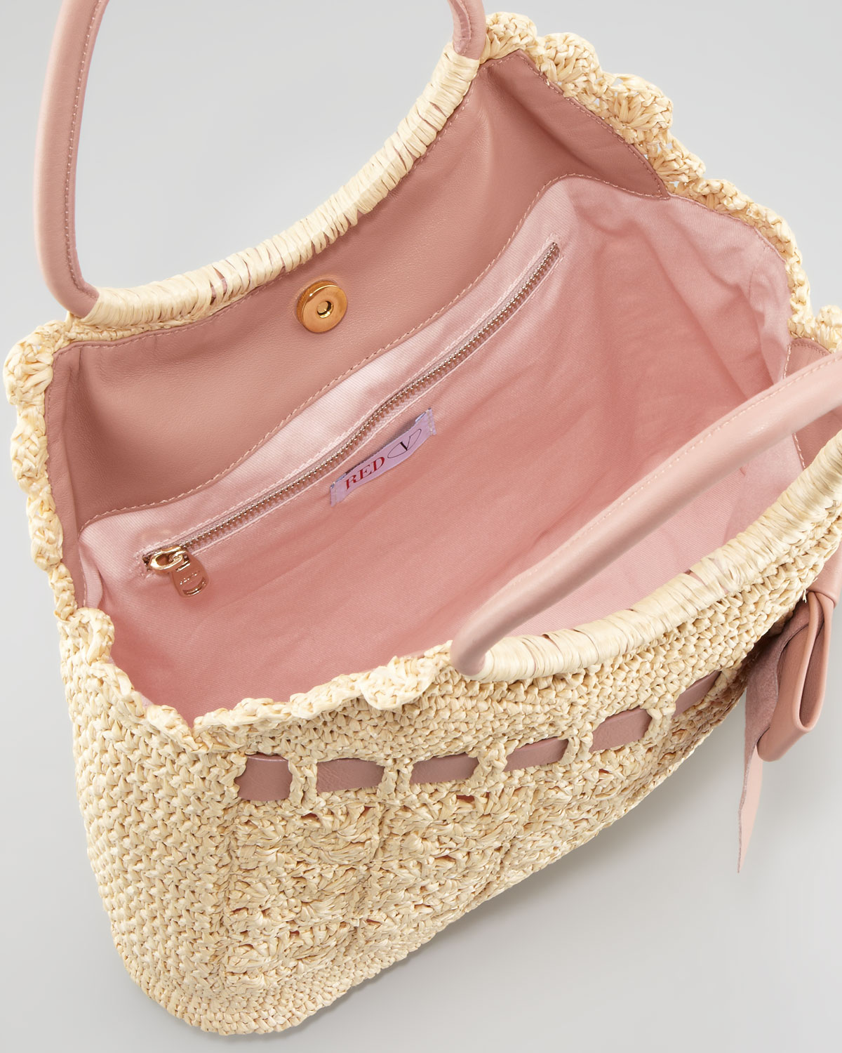 Lyst Red Valentino Leather And Crochet Raffia Tote Bag