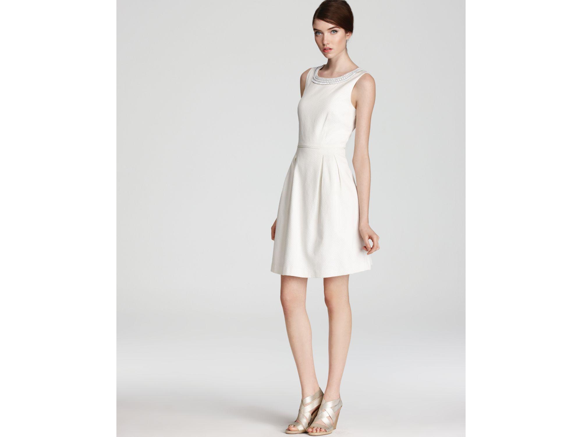 Trina turk Dress Seles Beaded Neck Pique in White  Lyst