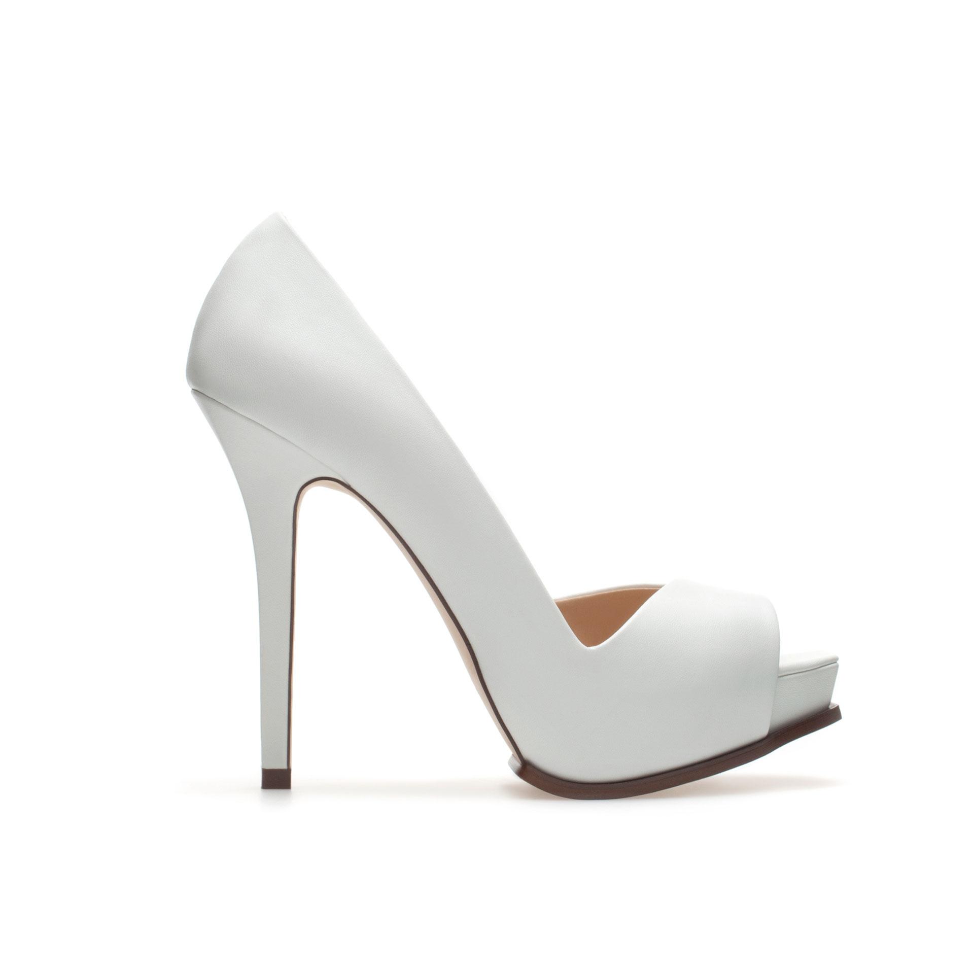 Zara Asymmetric Peep Toe in White | Lyst