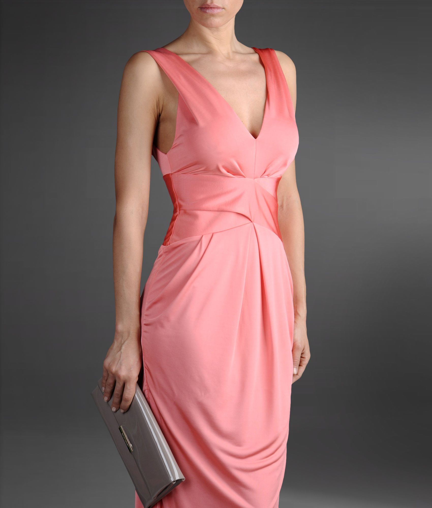 Emporio armani Long Dress in Pink | Lyst