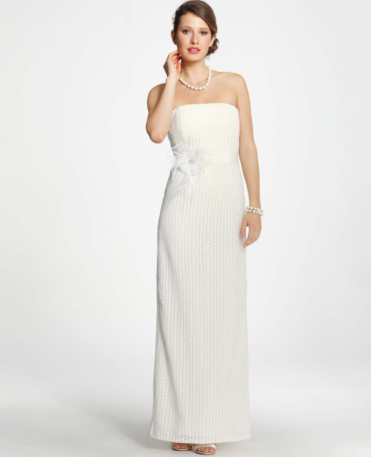 Ann taylor petite lace column wedding dress in white for Petite designers