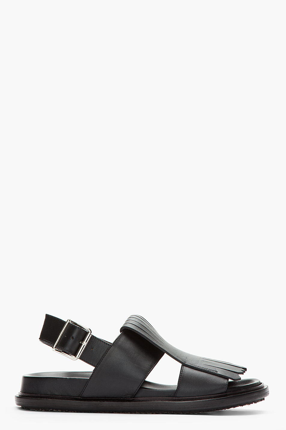 Marni Fringed Leather Sandals In Black For Men Lyst