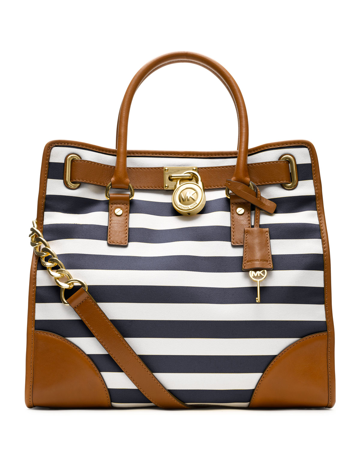 Lyst - Michael Kors Large Hamilton Striped Canvas Tote in Blue 25a164ab76307