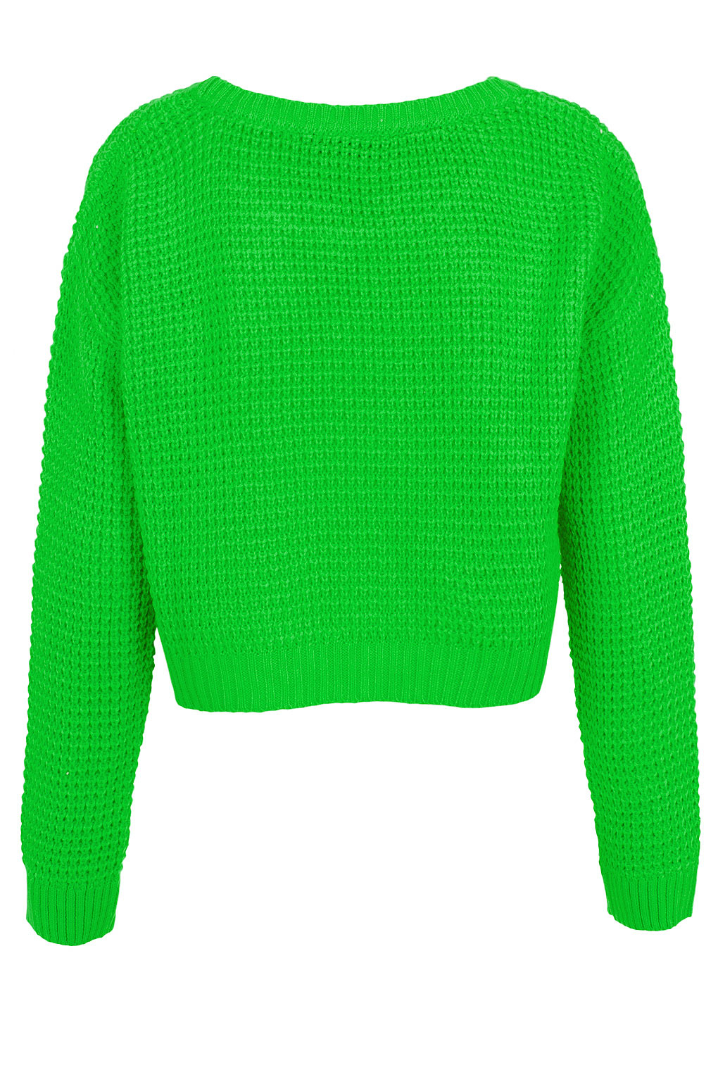 Topshop Cropped Knit Sweater In Bright Green Green Lyst