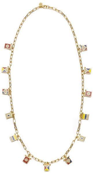 Tory Burch Ahoy Flag Charm Necklace in Multicolor (nile blue multi)