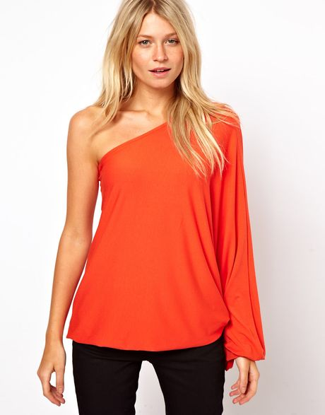 Asos Top with One Shoulder Volume Sleeve in Red (cerise)