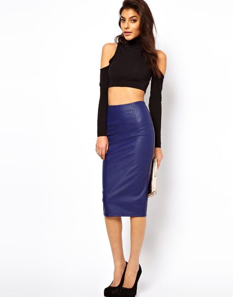 asos collection asos pencil skirt in leather look in blue