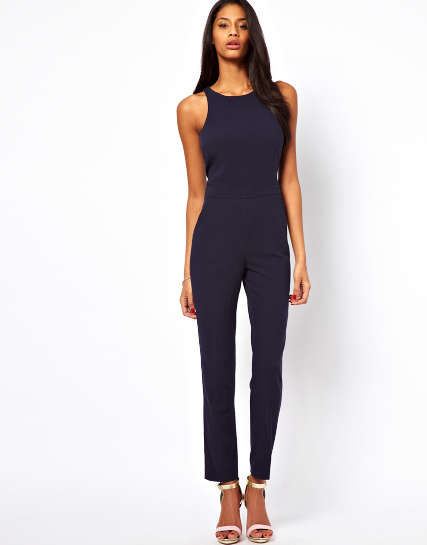 asos jumpsuit with chic racer detail in blue lyst. Black Bedroom Furniture Sets. Home Design Ideas