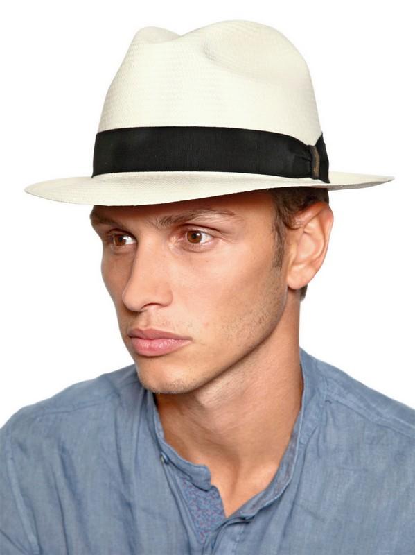 Lyst - Borsalino Classic Panama Narrow Brimmed Straw Hat in White 873d62a9fb7e