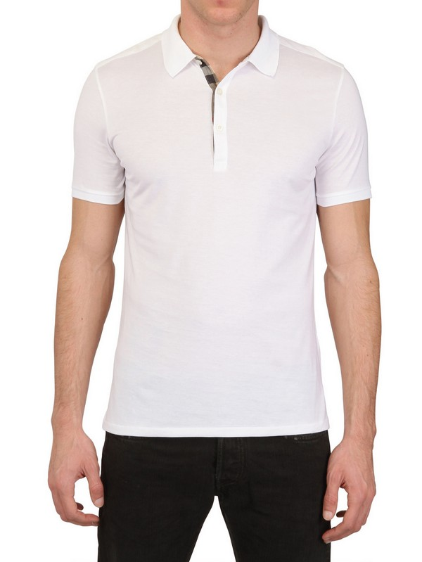 Burberry Brit 3 Button Cotton Jersey Polo Shirt In White
