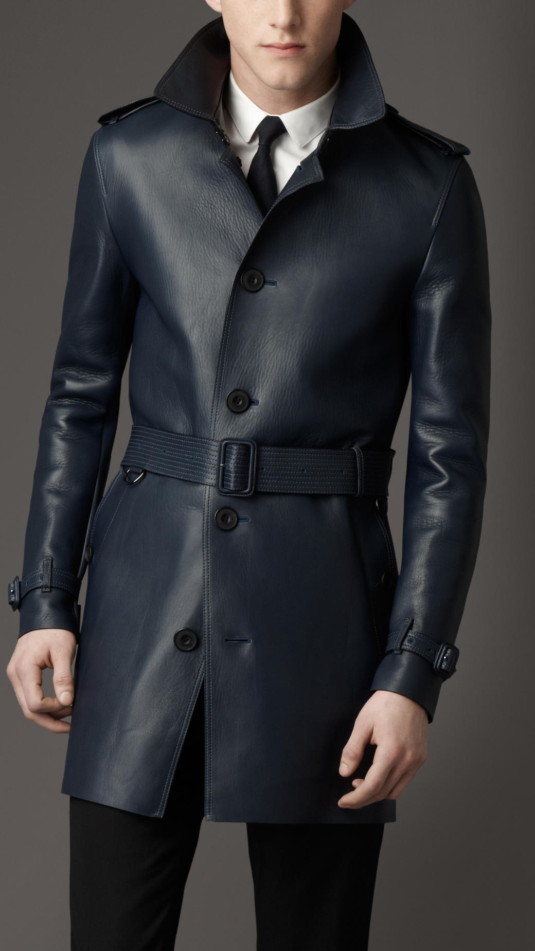 Burberry Midlength Lambskin Leather Trench Coat In Navy