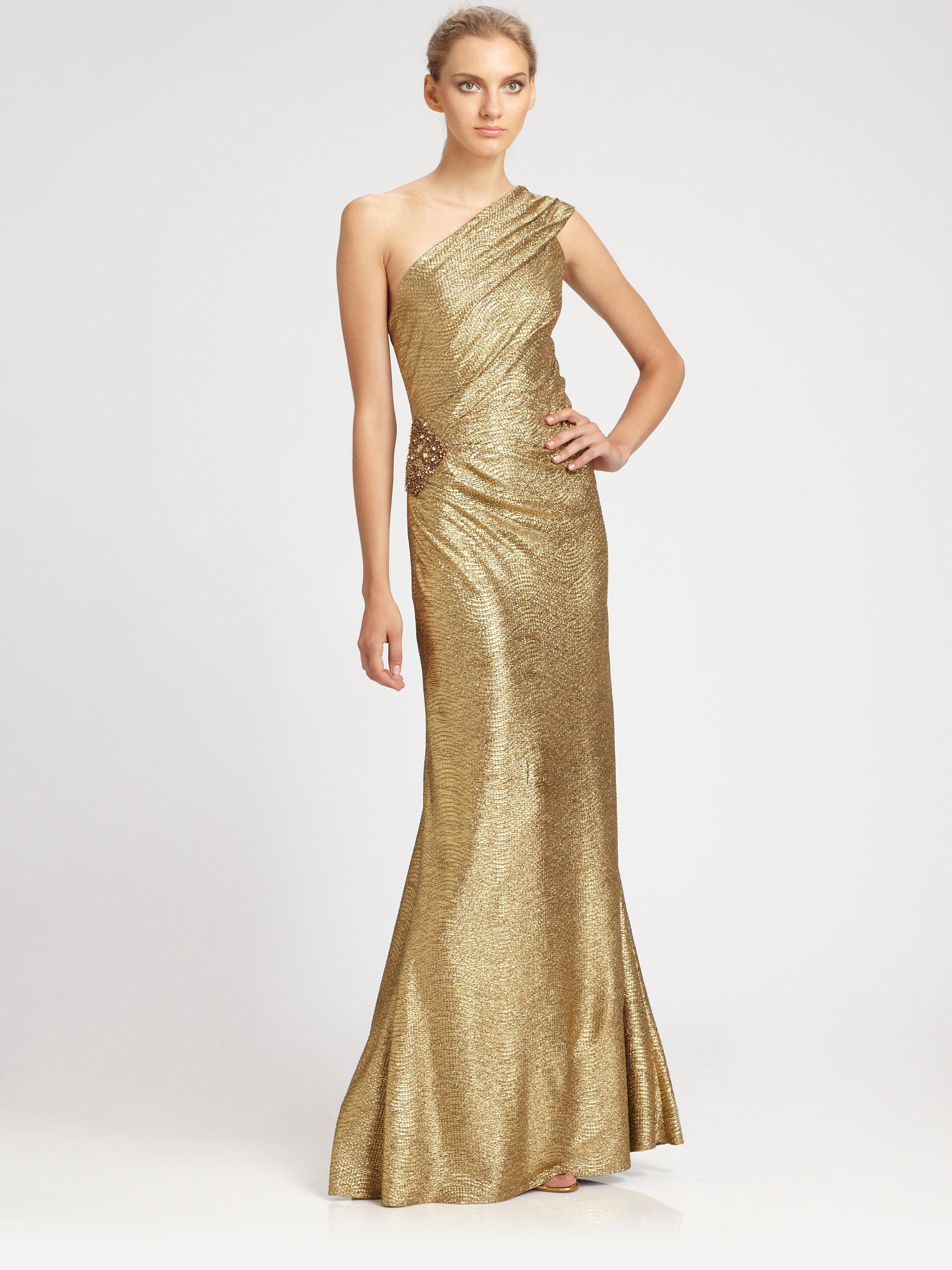 Lyst - David Meister One-Shoulder Metallic Gown in Metallic