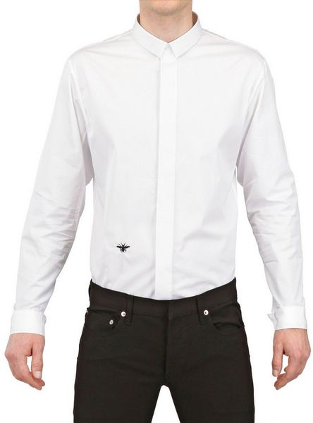 Dior homme bee embroidered cotton poplin shirt in white