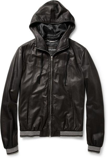 Dolce Amp Gabbana Hooded Leather Jacket In Black For Men Lyst