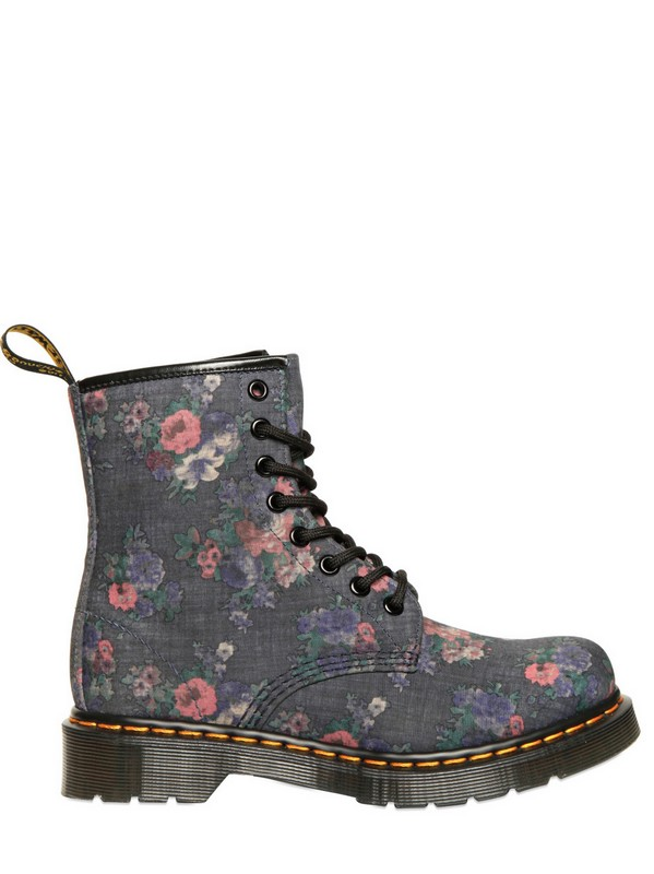 Dr Martens 30mm Floral Printed Denim Boots In Gray Lyst
