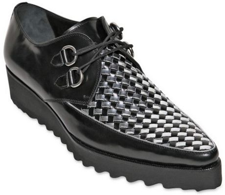 dsquared 178 40mm woven leather rockabilly shoes in black for