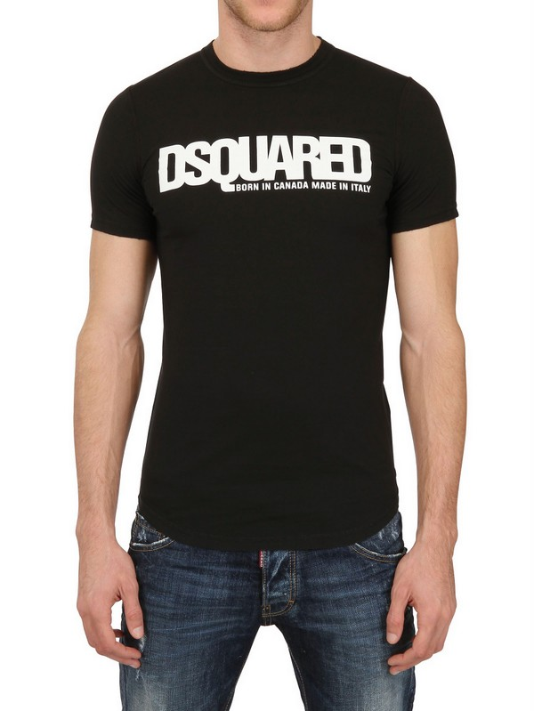 dsquared dsquared logo dyed cotton jersey tshirt in black for men lyst. Black Bedroom Furniture Sets. Home Design Ideas