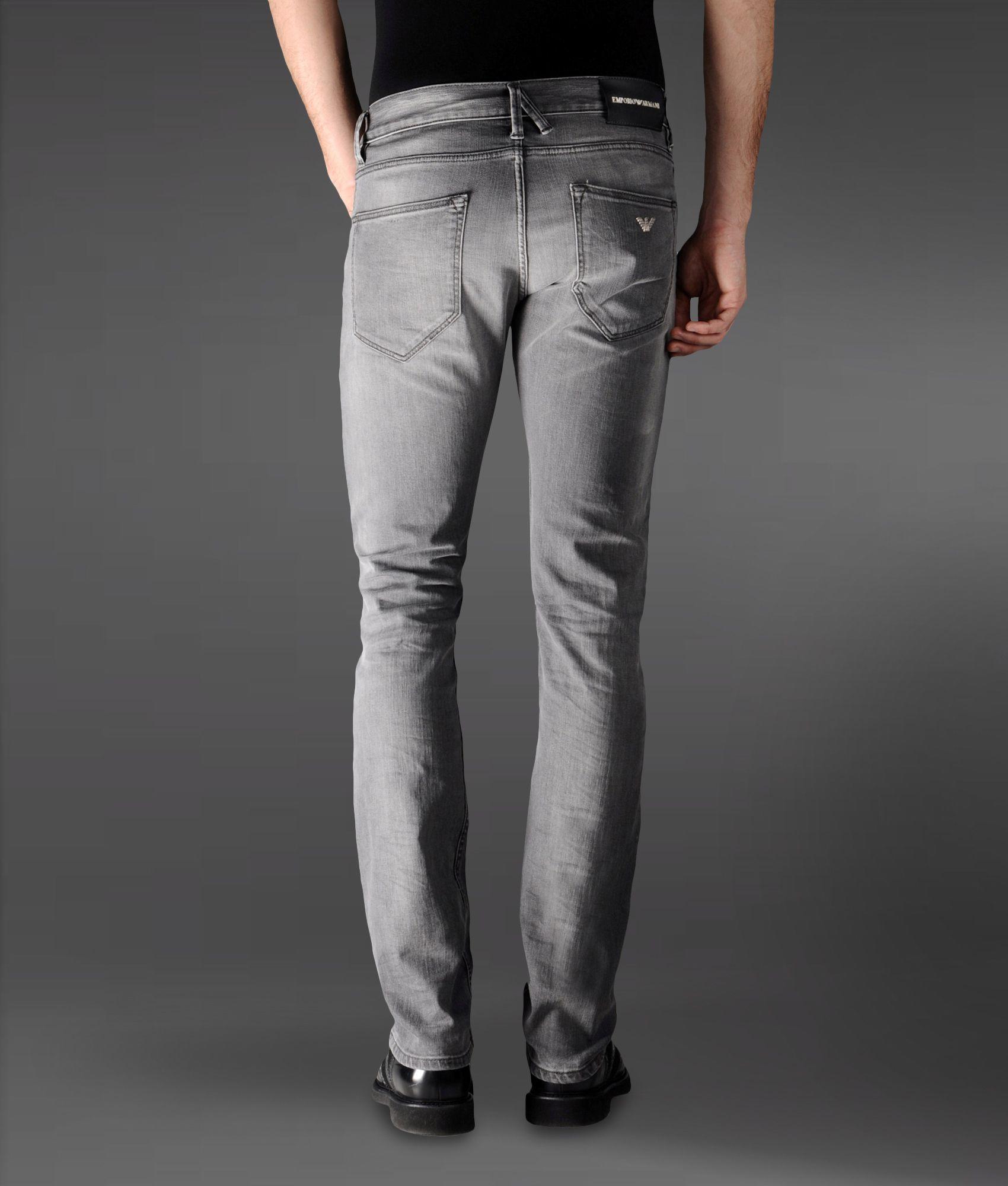 c8f523e7 Emporio Armani Gray Slim Fit Black Denim Jeans Used Wash for men