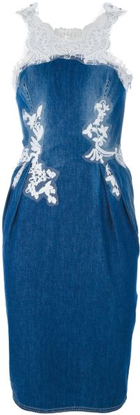 Ermanno Scervino Denim Fitted Midi Dress in Blue (denim)