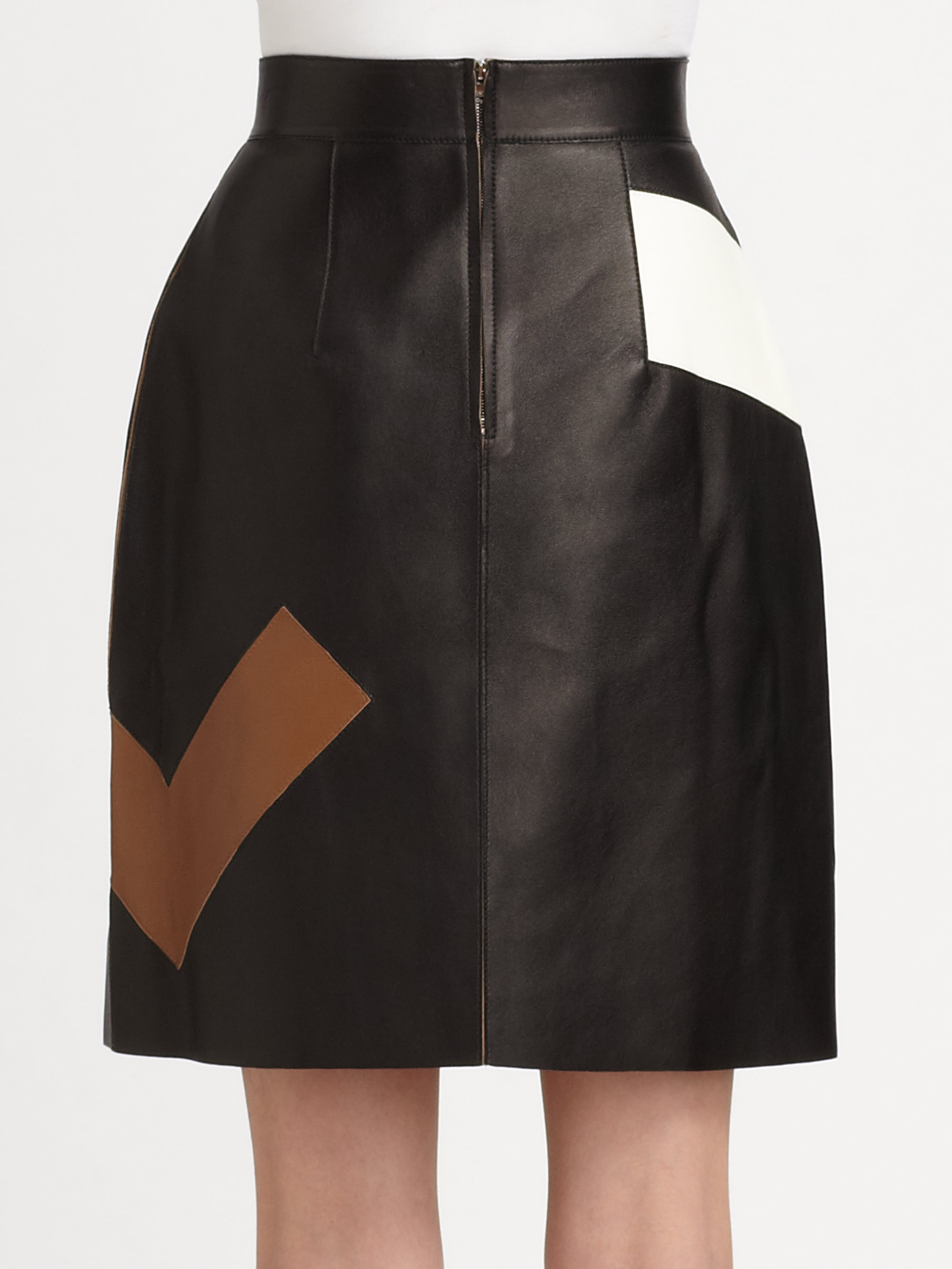 fendi leather maxi f skirt lyst