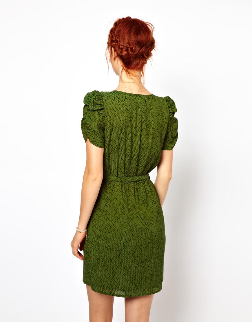 Ganni Belted Dress In Polka Dot Print In Green Lyst