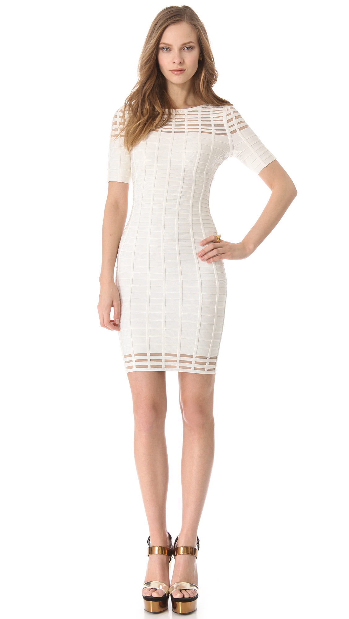 Lyst Herv 233 L 233 Ger Short Sleeve Cut Out Dress In White