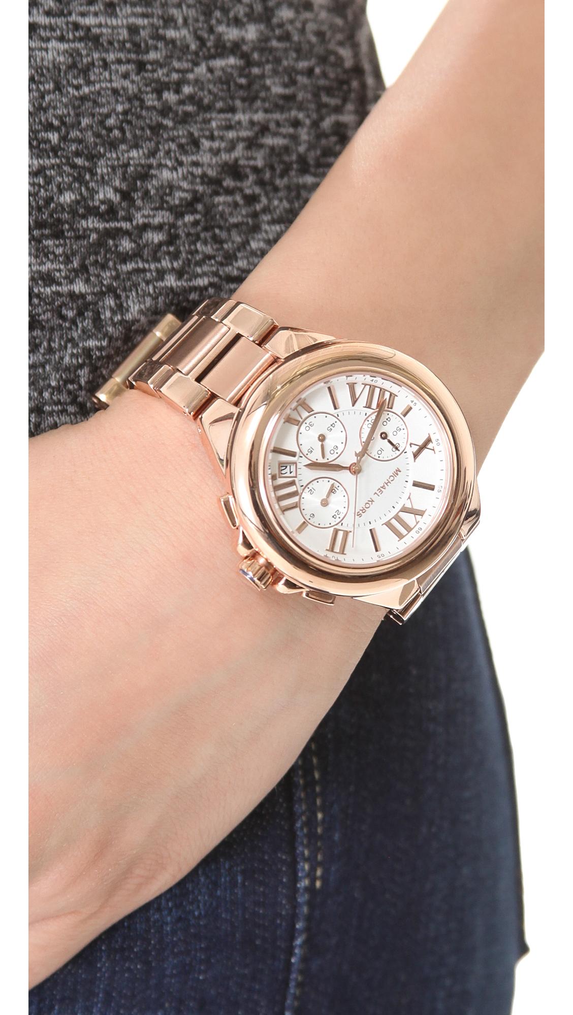 1ba29a5ac5b1 Lyst - Michael Kors Camille Chronograph Watch in Metallic