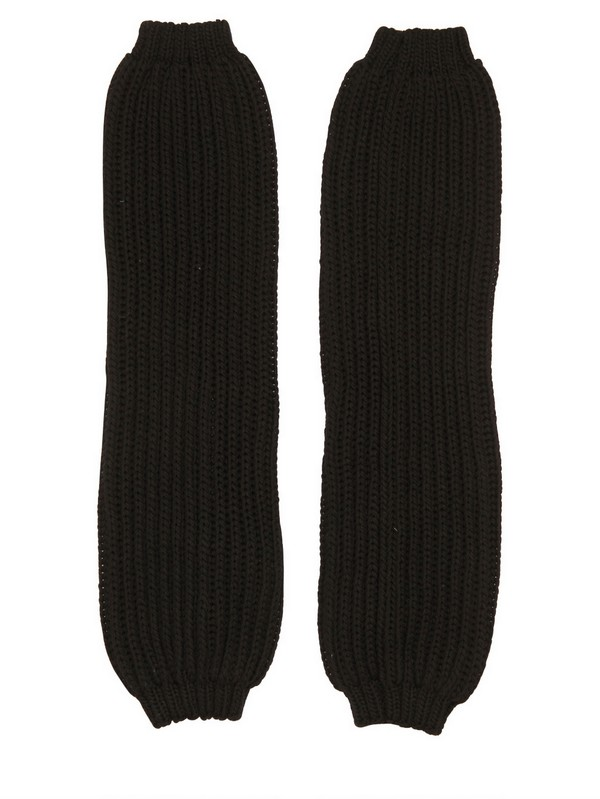 Rick Owens Thick Cotton Ribbed Knit Leg Warmers In Black ...