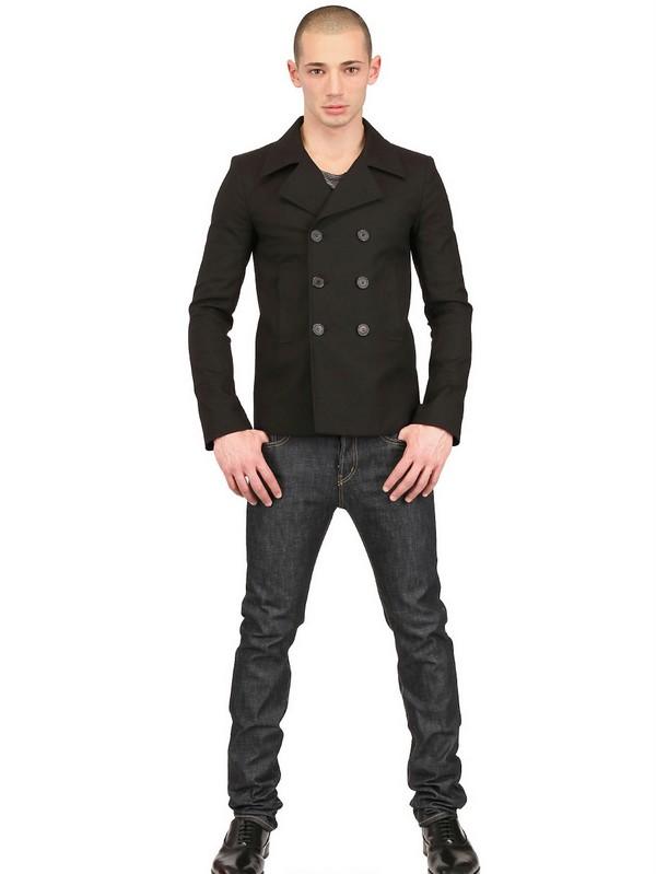 Saint Lau Reinforced Technical, Black Cotton Pea Coat
