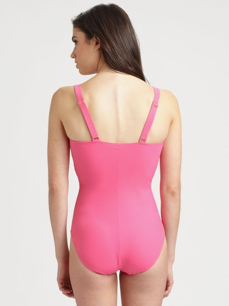 Spanx Onepiece Riveting Ruched Swimsuit In Pink Paradise