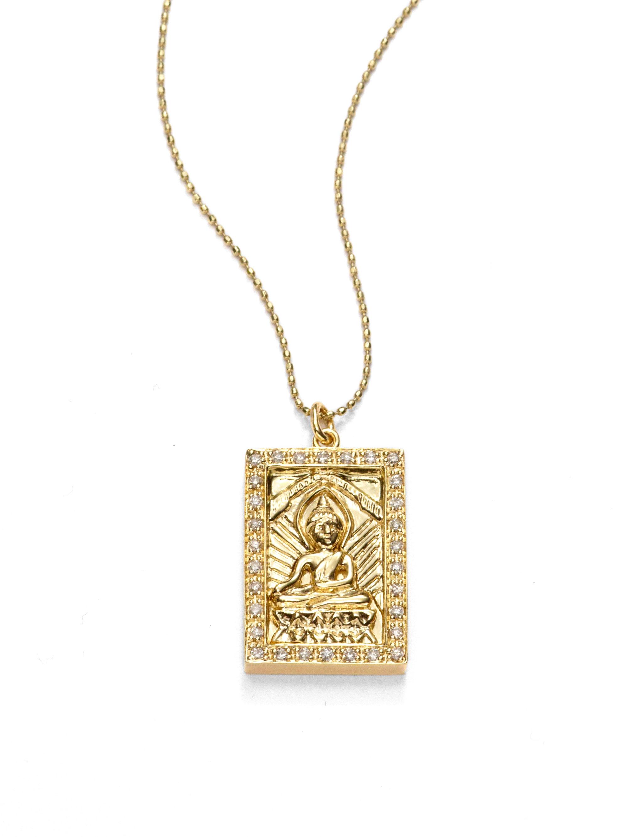 9c90e6a390111f Sydney Evan Diamond Buddha Pendant Necklace in Metallic - Lyst