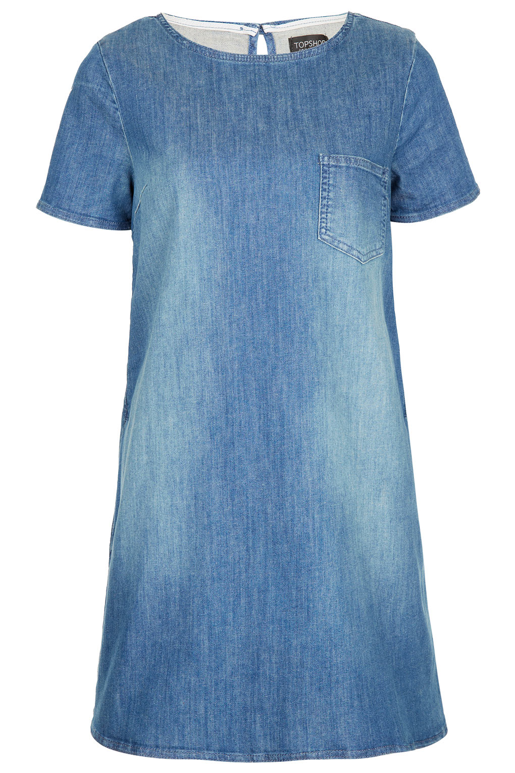Topshop pocket denim swing dress in blue lyst for Womens denim shirts topshop