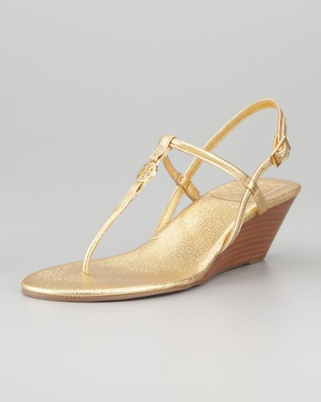 Tory Burch Emmy Metallic Tstrap Wedge Sandal in GoldTory Burch Emmy Wedge Sandals