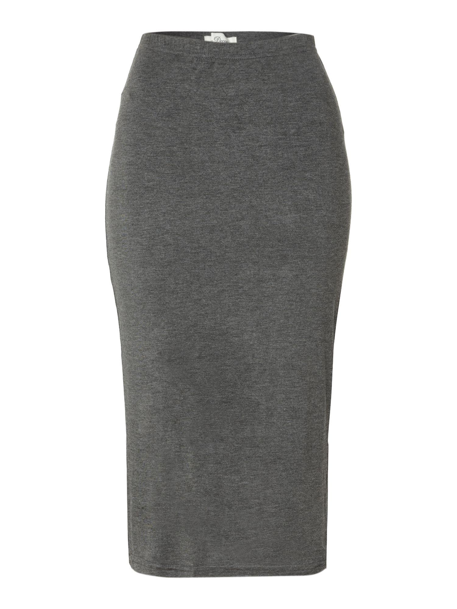 true decadence slim midi pencil skirt in gray charcoal