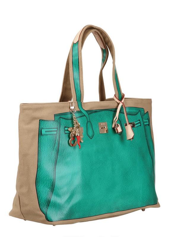V73 Big Printed Canvas Tote Bag in Green/Beige (Green)