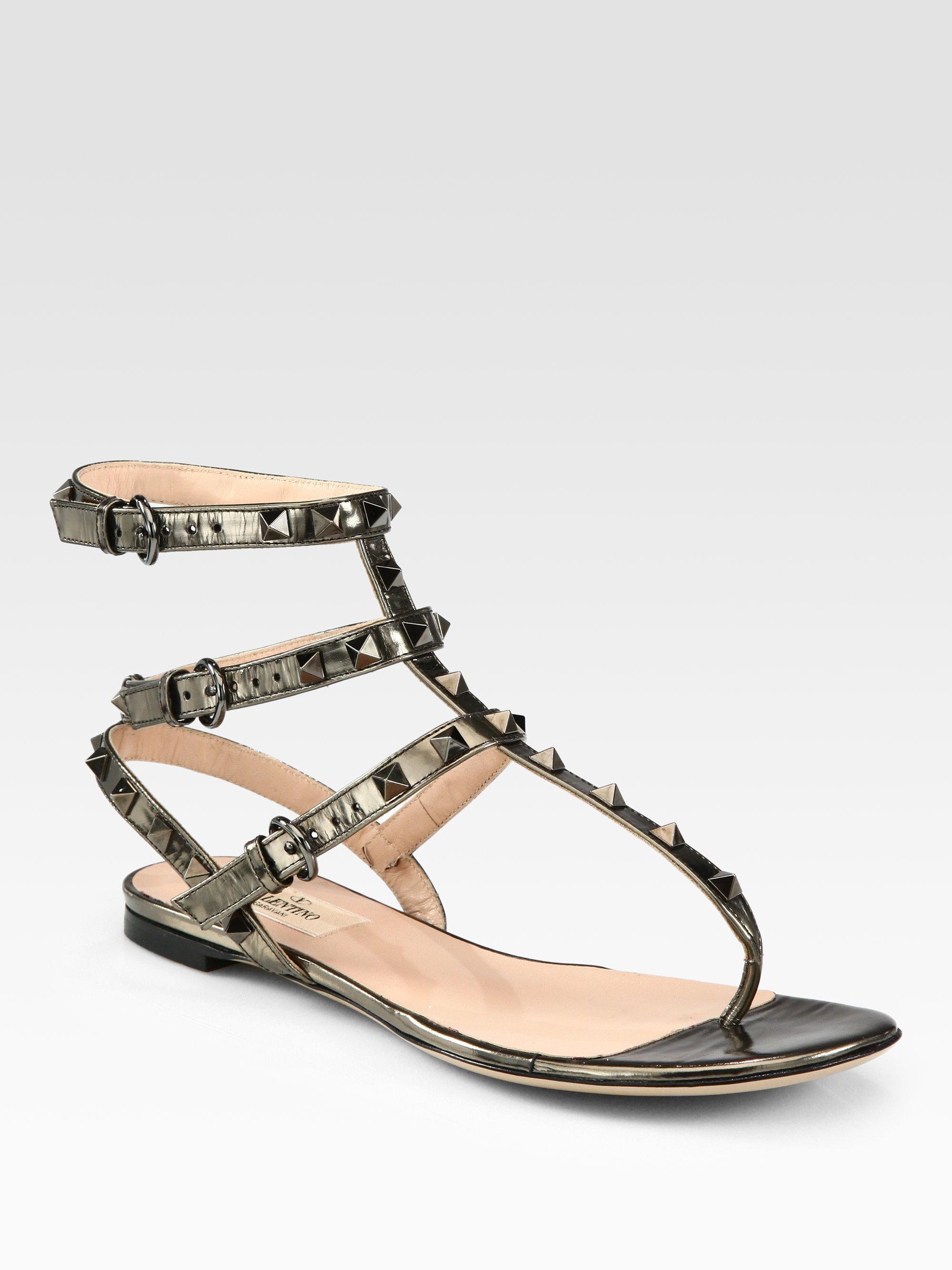 Valentino Rockstud Gladiator Metallic Leather Thong