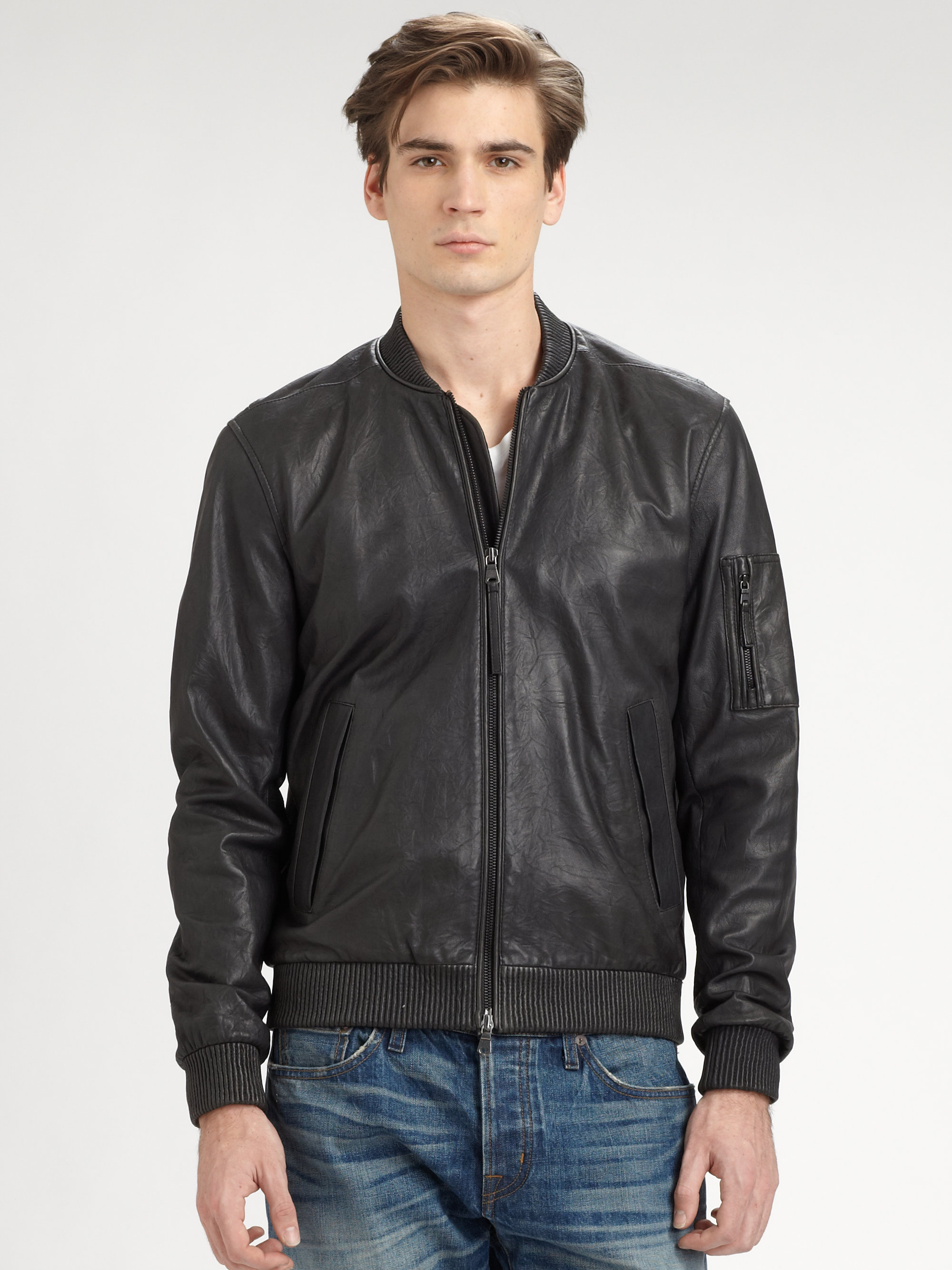 43e6409fd Vince Black Leather Bomber Jacket for men