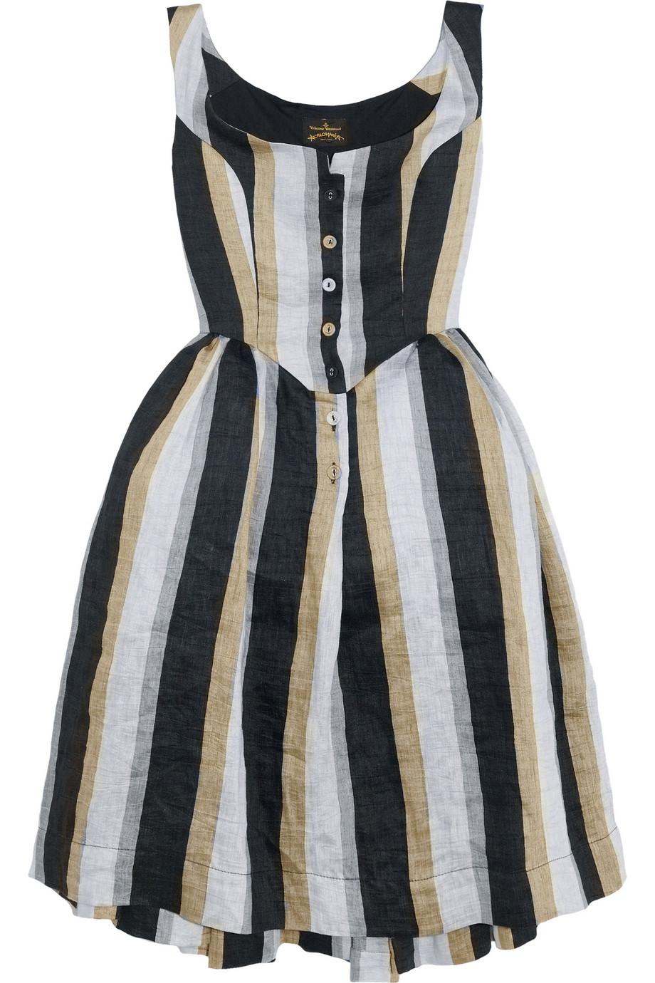 lyst vivienne westwood anglomania panier striped linenblend dress in blue. Black Bedroom Furniture Sets. Home Design Ideas