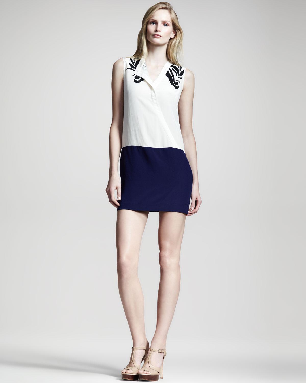 10 Crosby Derek Lam Colorblock Silk Dress In White