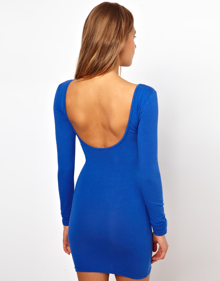 Lyst American Apparel Longsleeve Bodycon Dress In Blue