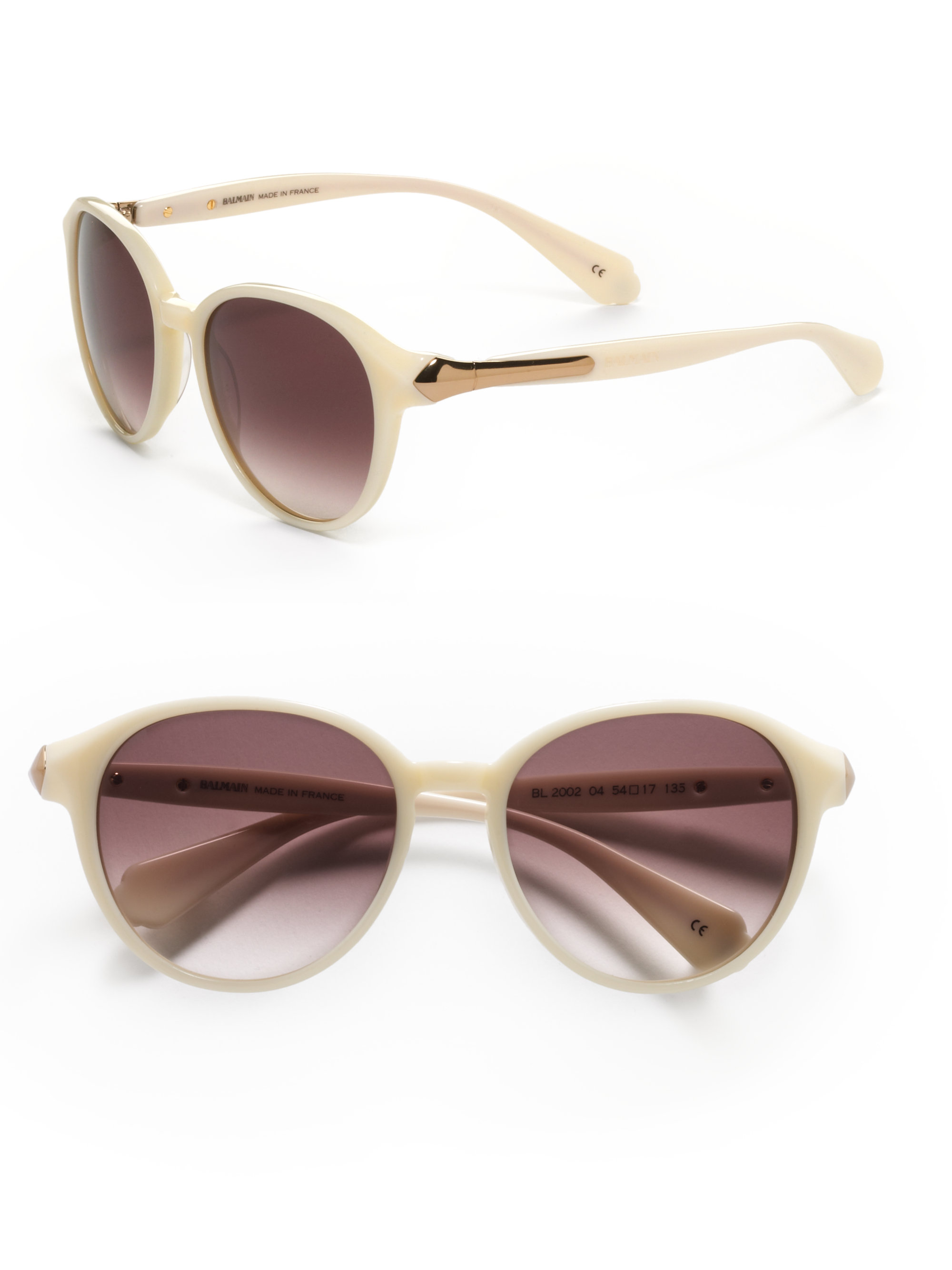 e60283aca Balmain Round Baroque Acetate Sunglasses in White - Lyst