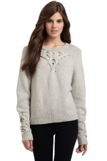 BCBGMAXAZRIA Cable Detail Knit Sweater - Lyst