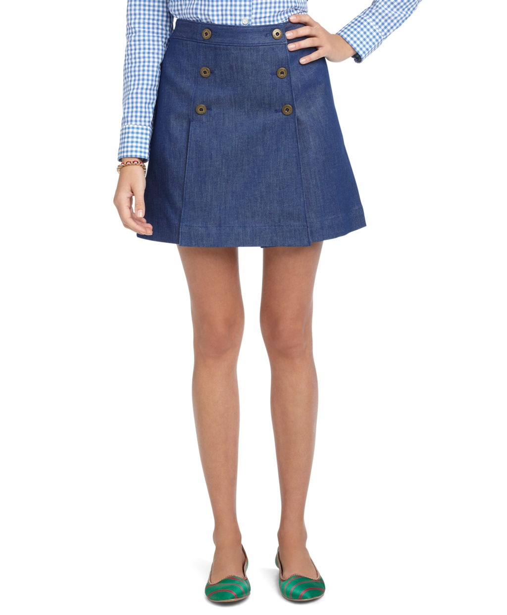 brothers high waisted denim skirt in blue lyst