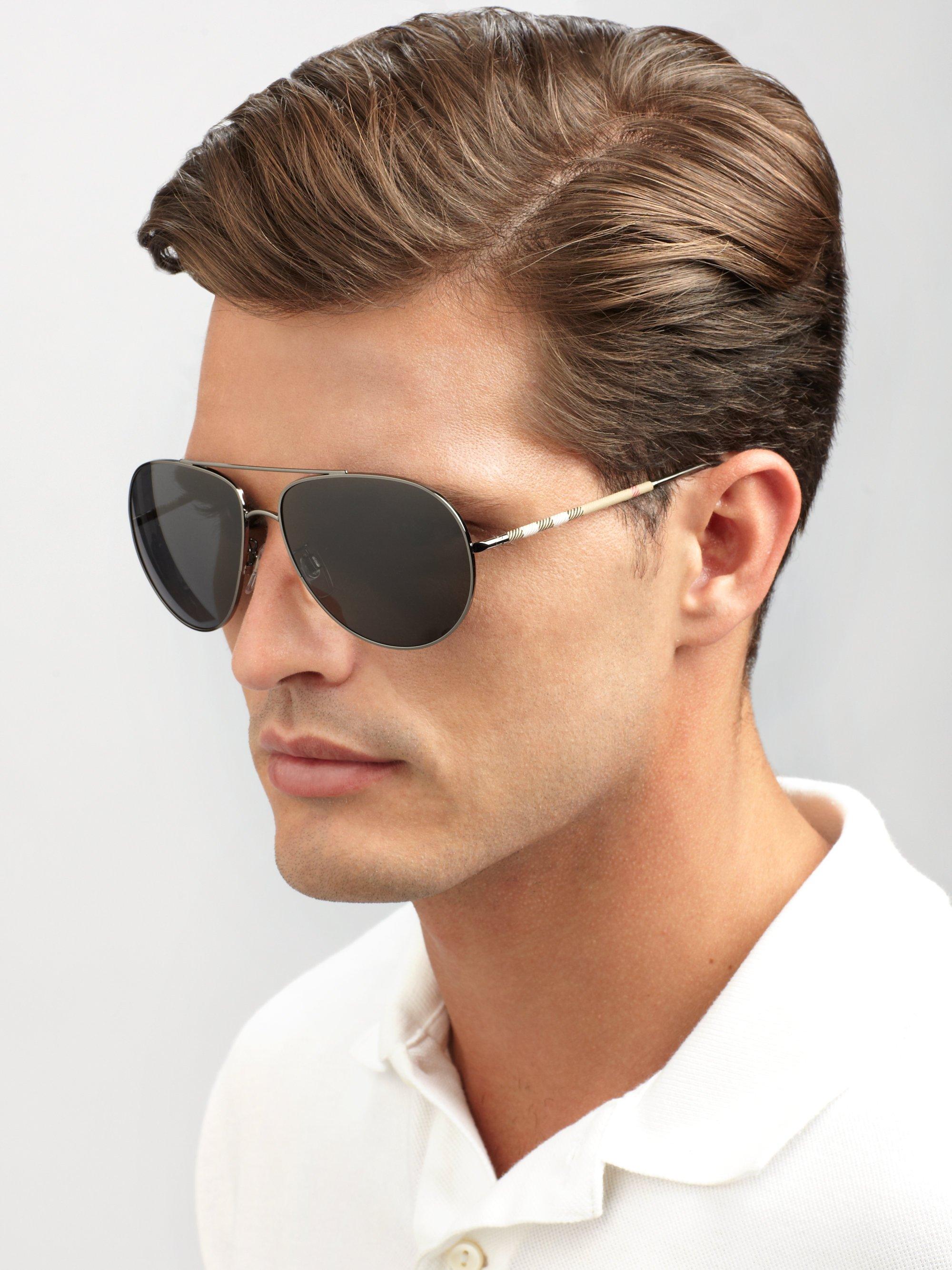 31901f7af9944 Burberry Check Detail Pilot Sunglasses