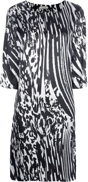 By Malene Birger Loose Fit Print Dress in Black